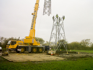 Heavy crane used to install electricity pylon